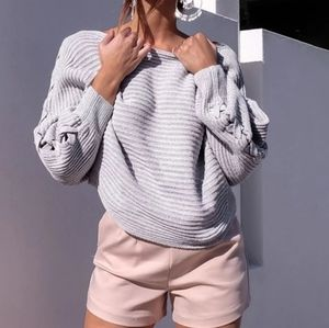 Sexy Knitted Lace Up Sweater Off Shoulder Style